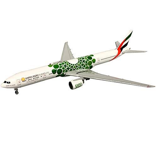 Airbus Flugzeug Modell, 1/400 Maßstab Boeing 777-300ER Emirates 2020 Green Expo Legierung Modell, Erwachsene Geschenke, 7.3Inch X 6Inch