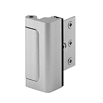 """Defender Security Satin Nickel U 10827 Door Reinforcement Lock – Add Extra High Security to your Home and Prevent Unauthorized Entry – 3"""" Stop Aluminum Construction Finish"""