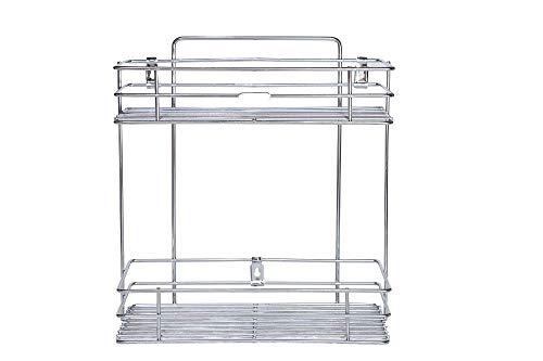 FINIVIVA Multipurpose Storage Rack/Shelf, Double Layer Kitchen Rack, Bathroom Shelves and Racks Steel, Wall Mounted Organiser for Home/Spice Bottle Shelf Holder Platform Cabinet (Silver)