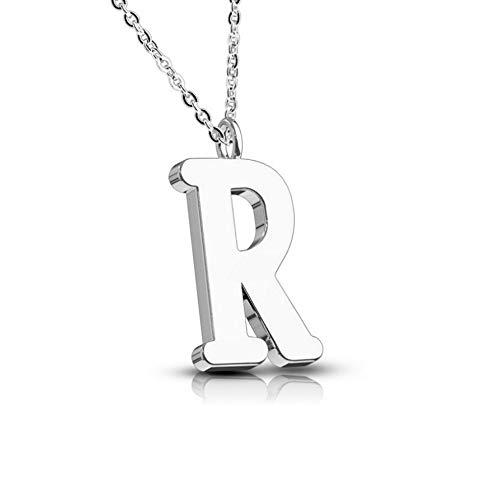 Treuheld® Silberne Kette mit Buchstabe | Alphabet | Edelstahl [18.] - R
