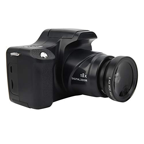 Lazimin Fotocamera Digitale con Zoom 18X, Schermo LCD da 3,0 Pollici Videocamera Portatile con Fotocamera Reflex HD a focale Lunga, Microfono Integrato(con Obiettivo grandangolare)