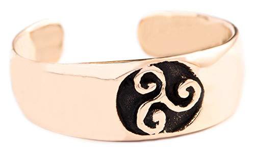 WINDALF Celtic Zehenring TRÎRA h: 0.5 cm Keltische Triskele Vintage Fußring Bohemia Zehenschmuck Hochwertige Bronze