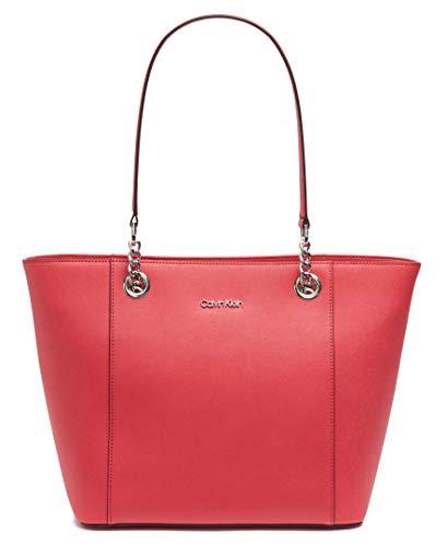 Calvin Klein Hayden Saffiano Leather East/West Top Zip Chain Tote, Watermelon
