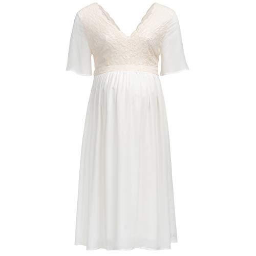 Herzmutter Umstands-Chiffon-Spitze-Kleid - Elegantes-Fließendes-Schwangerschafts-Kleid - für Festliche Anlässe-Feiern-Hochzeit - Chiffonkleid mit Spitze - Creme-Weiß - 6400 (Creme-Weiß, XS)