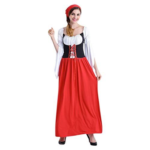 SANNYSIS Damen Dirndl Kleid Trachtenkleid Glockenärmel Designer Kurzarm Lange Kleider Schürze Oktoberfest Kellner Cosplay Kostüm Fasching Fasnacht Karneval Party (XL, Rot)