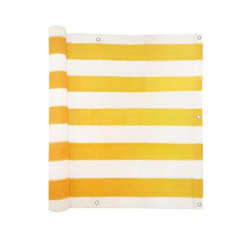 jarolift Balkonbespannung, Balkon Sichtschutz Windschutz Sonnenschutz Balkon-Verkleidung, Atmungsaktiv, 300 x 90cm (16 Ösen) gelb - Weiss