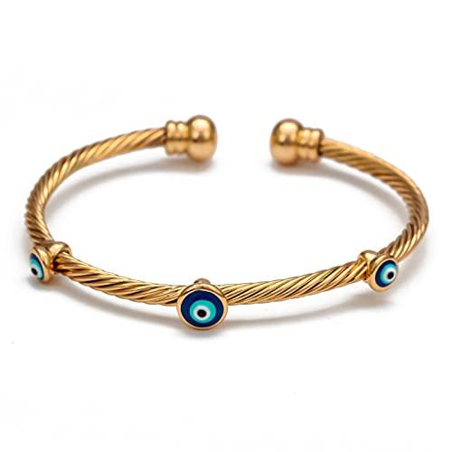 Inveroo Gota de Aceite Brazalete Turco Mal de Ojo Brazalete brazaletes de Color Dorado Regalos para Mujeres Hombres joyería de Moda