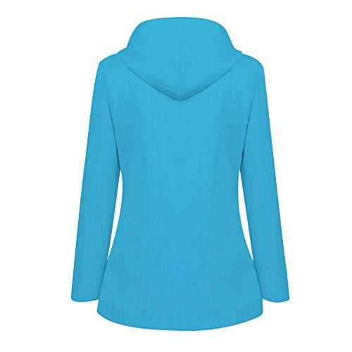 Briskorry Chaqueta deportiva para mujer con capucha, resistente al agua, cortavientos, chaqueta de entretiempo, chaqueta para exteriores, informal, cremallera ligera, azul celeste, XXXL