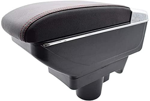QZSM para Opel Astra H 2004-2014 Caja De Almacenamiento De Doble Capa Decoración Caja De Almacenamiento De La Consola De La Consola Accesorios Coche (Color : Red Thread)