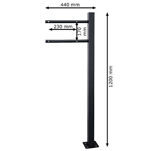 V2Aox Briefkasten Standfuß Briefkastenständer Ständfüße Ständer Freistehend Schwarz 1 Fuß - 3