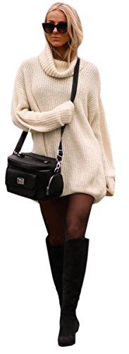 Mikos Damen Strickpullover Sweater Rollkragen Pullover Jumper Strick Pulli Oversize (648) (Beige)