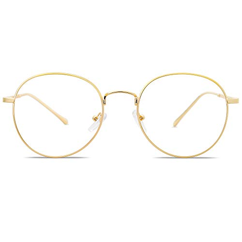SOJOS Blaulichtfilter Brille Retro Rund Computerbrille ohne Sehstärke GLORY SJ5039 mit Gold Rahmen/Anti-Blaulicht Linse