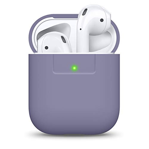 elago Premium Silicone AirPods Case Designed for Apple AirPods 1 and 2 [Front LED Visible] [Lavender Grey]