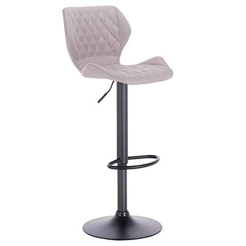 eSituro SBST0370-2 2 x Barhocker Küchenstuhl Barstuhl, höhenverstellbar & 360° drehbar, 2er Set Bar Hocker aus hochwertigem Leinen, Hellgrau - 4