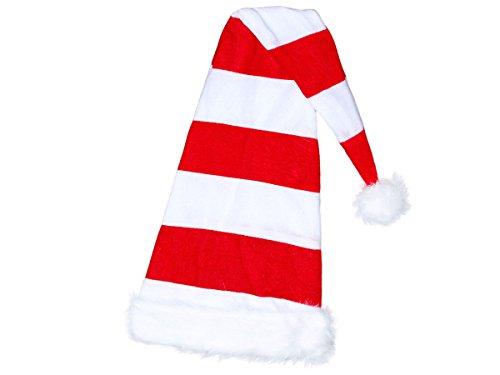 Alsino Weihnachtsmütze Santa Hat Erwachsene Nikolausmützen Weihnachtsmann Mützen kuschelweich mit Bommel, Weiß Rot Gestreift Lang