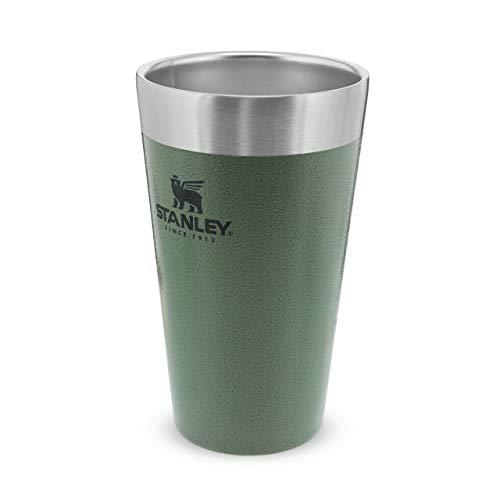 Stanley Adventure Stacking Beer Edelstahlbecher hält 4 Stunden kalt, | BPA-frei |Stapelbare | Doppelwandiger, vakuumisolierter Pint-Becher | Spülmaschinenfest, Hammertone Green, 473 ml