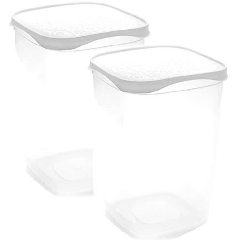 Set de 2 Coupelles hermeticos carrés avec couvercle Blanc de 2 litres – BPA Free.
