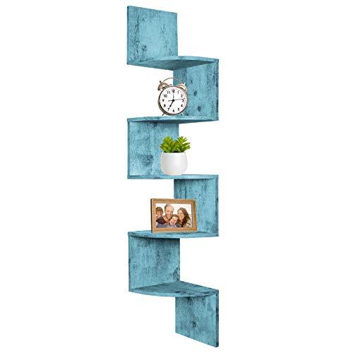 Greenco 5 Tier Wall Mount Corner Shelves Rustic Blue Finish