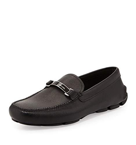 Prada Herren Saffiano Plaque-Strap Driver-Schuhe, schwarz (Größe 46,5 US)