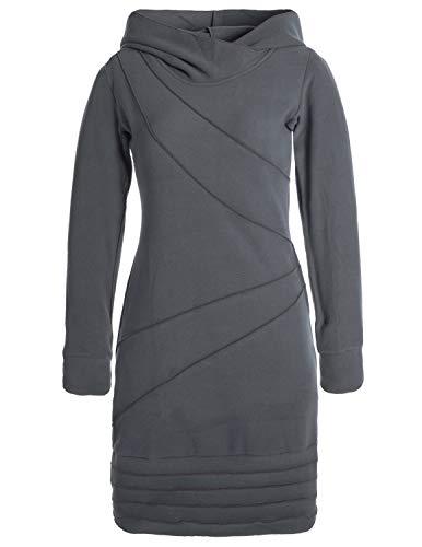 Vishes - Alternative Bekleidung - Langärmliges Patchwork Hoodie Eco Fleecekleid mit Daumenlöchern grau 42