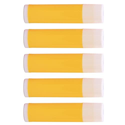 100 Piezas de plástico vacío DIY Tubo de bálsamo Labial lápiz Labial Chap Stick Soportes cosméticos (Tubo Amarillo Cubierta Blanca)