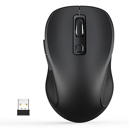 Wireless Mouse, TedGem 2.4G Ergonomic Portable Computer Mouse with USB Receiver and 3 Adjustable Levels, 6 Button Cordless Mouse Wireless Mice for Windows Mac PC Notebook (Black)