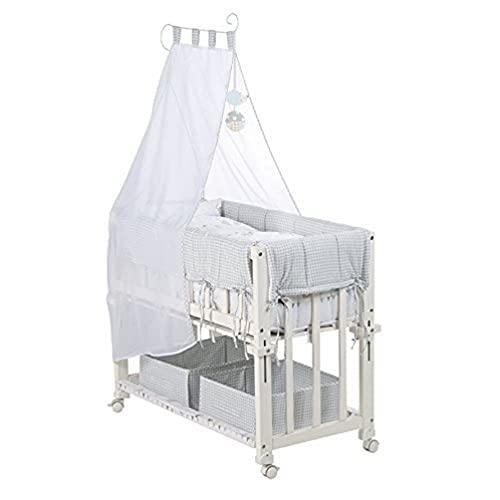 roba Berceau cododo 'Babysitter 4 en 1', bois laqué en blanc, collection 'Happy Field', utilisable comme cododo, berceau, petit lit et banc, avec matelas, linge du lit (80x80cm)