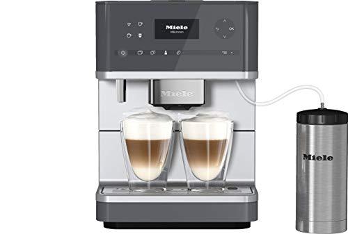 Miele CM 6350 Kaffeevollautomat (OneTouch- und OneTouch for zwei-Zubereitung, vier Genießerprofile, Tassenwärmer, Heißwasserauslauf, Tassenbeleuchtung, automatische Spülprogramme) graphit-grau