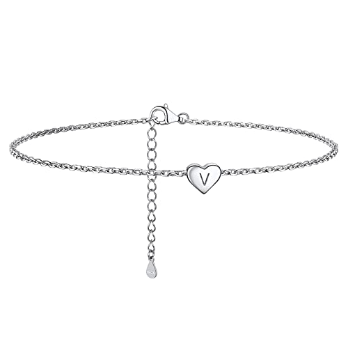 925 Sterling Silver Ankle Bracelets, A-Z Initial Dainty Heart Anklets For Women Teen Girls, Summer Beach Jewelry, 8.6-10.6 Inch Adjustable, Come Gift Box