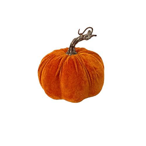 Knüllermarkt 32073 I Deko Kürbis Samt Samtstoff I herbstlich orange 13cm Wohnaccessoires I Herbst modern I Bloggerstyle neu