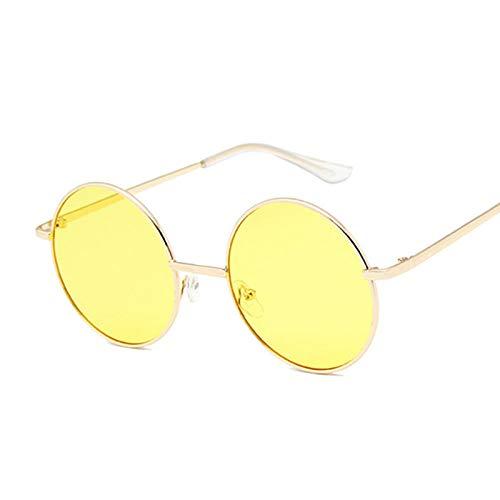 IRCATH Gafas de Sol Redondas para Mujer, Gafas de Sol de Metal Vintage para Mujer, Gafas de Sol de conducción Retro, conducción Deportiva al Aire Libre Masculina-C3