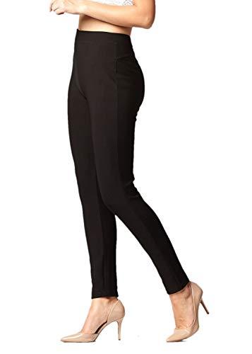 Premium Women's Stretch Ponte Pants - Dressy Leggings with Butt Lift - Classic - Black - Large-X-Large