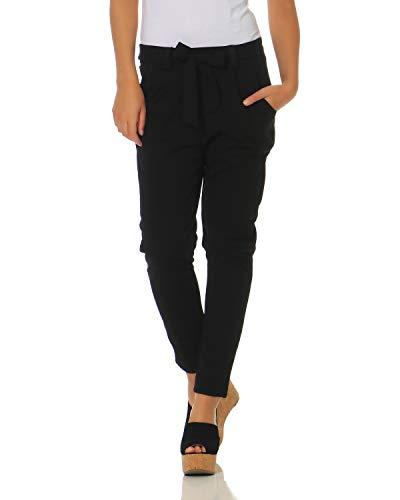 ZARMEXX Damen Hose Stoffhose Freizeithose mit integriertem Schleifengürtel High Waist Business Casual schwarz 2XL (44)