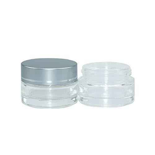 10pcs 20ml Bocaux en verre réutilisables, Pot Vide Cosmétique en Verre Clair Récipient Cosmétique, avec Argent Couvercle et Doublure, 44x32x34mm
