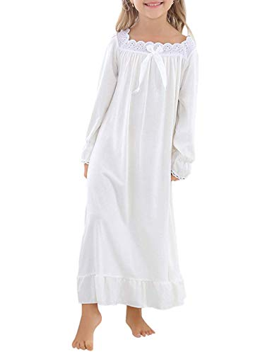 BOOPH Girls Nightgown Toddler Sleep Nightwear for 8-9 Years Cream White