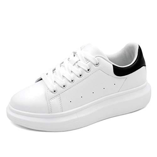 MALEMONKEY Mujer Zapatillas de Deporte de Moda Bajas Ocasionales con Cordones Zapatos para Caminar para Mujeres Blanco Negro 34