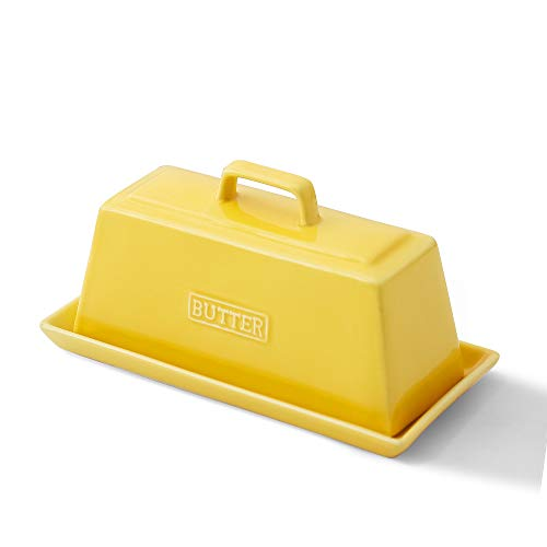 KOOV Porcelain Butter Dish With Lid, Perfect for East West Coast Butter, Keep Butter Soft (Lemon)