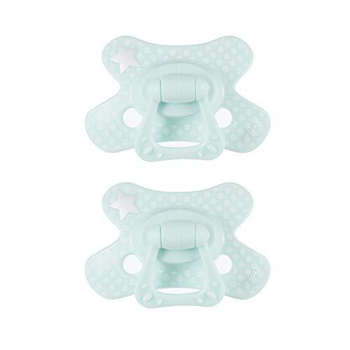 Chupete Difrax Dental 6+ Meses, Pack de 2 Chupetes de Silicona, Fáciles de Aceptar, Flujo de Aire Óptimo que Previene la Irritación de la Piel, Chupete Simétrico - Menta