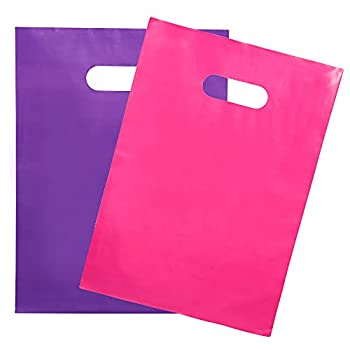 200 Pink & Purple Merchandise Bags 100 Pink and 100 Purple 1.5Mil 9  x 12  Extra Thick Glossy Bags for Small Business and Plastic boutique Bags with Die Cut Handles