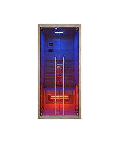 Infrarotkabine 90 x 100 x 195 cm für 1 Person aus Hemlock Holz mit 4 Rotlichtstrahler | Infrarotsauna mit ergonomischer Rückenlehne | Wärmekabine mit Farblichttherapie