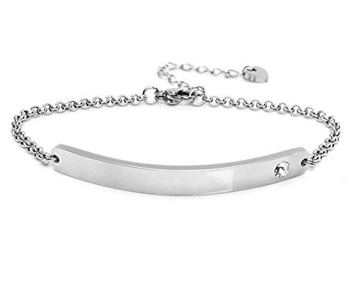 Silvity Damen Gravur-Armband Edenlstahl veredelt mit einem Swarovski¨ Kristall 16,5 cm bis 20,5 cm Wunschgravur (Silber)