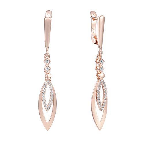 TLBB Pendientes Largos Mujeres Rosa Color Oro Cristal Layer Oval Capa Joyería