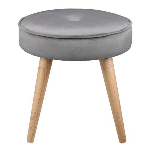 Ribelli Hocker mit 4 Beinen - ca. Ø 40 cm - Extra Dicke Sitzstärke: ca. 8,5 cm - bis zu 120 kg belastbar - Sitzhocker (grau)