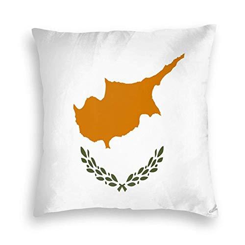 SUN DANCE Funda de cojín decorativa suave con la bandera de Chipre para sofá, coche, cama, 50,8 x 50,8 cm