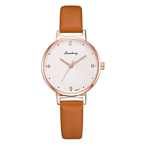 Reloj cronógrafo de cuarzo para mujer, con correa de piel analógica, de fácil lectura, de cuarzo, con función de fecha, relojes de pulsera de acero inoxidable para mujer (color D: D)