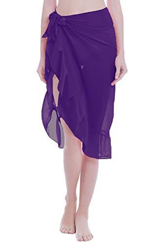 ChinFun Women's Ruffle Sarongs Cover Up Beach Wrap Slit Skirts Bathing Suit Shawl Semi-Sheer Swimwear Solid Deep Purple