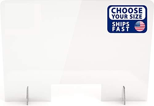 SignHero Sneeze Guard | Professional Acrylic Plexiglass Shield | USA-Made, Fast Shipping, 30 Second Setup | Plexiglass Barrier for Counter, Reception, School, Office (Multiple Sizes)