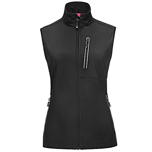 33,000ft Women's Lightweight Softshell Running Vest Outerwear, Windproof Reflective Sleeveless Jacket for Golf Cycling Hiking Black
