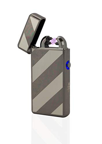 TESLA Lighter Tesla-Lighter T08 Lichtbogen Feuerzeug USB Feuerzeug Elektro Feuerzeug Double Arc wiederaufladbar Schwarz gestreift Schwarz-gestreift