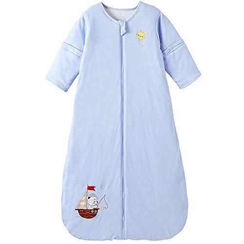 Saco de dormir para bebé con mangas desmontables, para todo el año, 2,5 tog, barco de mar (3/6 años de edad, color azul)